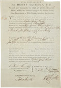 "Autographs:Non-American, Sir Henry Clinton Document Signed. One partly-printed page, 7.75"" x11.25"", New York, August 26, 1780. With this document, H..."
