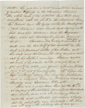"Autographs:Celebrities, 1853 Missouri River Flood: Autograph Letter Signed. Two and one-half pages, 8"" x 10"", Harrisburg [New York], July 6, 1853. J..."