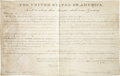 "Autographs:U.S. Presidents, John Quincy Adams Land Grant Signed ""J. Q. Adams"" aspresident. One partially-printed vellum page, 15.5"" x 9.5"",""City..."