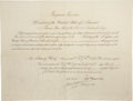 """Autographs:U.S. Presidents, Benjamin Harrison Document Signed. One partially-printed page,15.75"""" x 12"""", """"City of Washington"""", March 29, 1890, appoi..."""