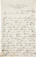 "Autographs:Celebrities, [Mathew Brady] A Secretarial Letter on his Brady studio letterhead.Two pages, 5"" x 8"", Washington, D.C., December 22, 1878..."