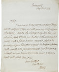 "Autographs:Non-American, Richard Howe Autograph Letter Signed ""Howe"". One page, 7.5""x 9.25"", Portsmouth, May 8, 1776. In this letter the Britis..."