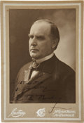 """Autographs:U.S. Presidents, William McKinley Cabinet Card Signed """"Very Cordially/ Wm.McKinley"""" to an admirer. Not dated. With an S. V. Courtneypho..."""