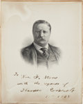 """Autographs:U.S. Presidents, Theodore Roosevelt Engraving Signed """"To Wm. F. Stone withregards of Theodore Roosevelt. Nov. 11th, 1908."""" 8"""" x 10"""".Dam..."""