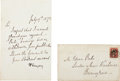 "Autographs:Authors, Alfred Tennyson Autograph Letter Signed ""A. Tennyson"". Onepage, 4.5"" x 7"", Haslemere, July 19, 1872, to Edwin Perks of ..."