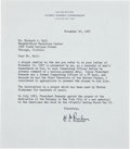 """Autographs:Military Figures, Hyman G. Rickover Typed Letter Signed. One page, 7"""" x 8"""", Washington, November 20, 1967, on United States Atomic energy Comm..."""