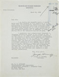 """Autographs:U.S. Presidents, [John F. Kennedy] Joseph P. Kennedy Typed Letter Signed. One page,8"""" x 10.5"""", Washington, March 23, 1935, on Securities and..."""