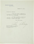 "Autographs:U.S. Presidents, Calvin Coolidge Typed Letter Signed. One page, 7"" x 9"", Washington,December 13, 1926, on White House letterhead thanking Co..."