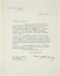"""Autographs:U.S. Presidents, Warren G. Harding Typed Letter Signed as president. One page, 7"""" x9"""", Washington, June 19, 1923, on White House stationery,..."""