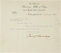 "Autographs:U.S. Presidents, Benjamin Harrison Typed Letter Signed. One page, 8.5"" x 7.25"",Indianapolis, Indiana, July 31, 1888, thanking H. M. Goodwin ..."