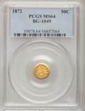 California Fractional Gold: , 1872 50C Indian Round 50 Cents, BG-1049, R.4, MS64 PCGS. PCGSPopulation (22/4). NGC Census: (4/2). (#10878). From The ...