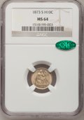 Seated Half Dimes: , 1873-S H10C MS64 NGC. CAC. NGC Census: (84/44). PCGS Population(67/29). Mintage: 324,000. Numismedia Wsl. Price for proble...