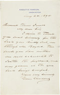 "Autographs:U.S. Presidents, Grover Cleveland Autograph Letter Signed as President on ExecutiveMansion letterhead. One page, 4.5"" x 7"", August 24, 1894,..."