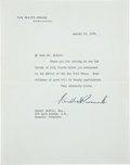 """Autographs:U.S. Presidents, Franklin D. Roosevelt Typed Letter Signed as president on White House stationery. One page, 7"""" x 9"""", Washington, August 13, ..."""