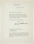 "Autographs:U.S. Presidents, Dwight Eisenhower Typed Letter Signed. One page, 7"" x 9"",Washington, October 14, 1953, on White House letterhead thankingM... (Total: 3 Items)"