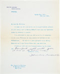 "Autographs:U.S. Presidents, Theodore Roosevelt Typewritten Letter Signed with a HolographicPostscript, one page, small quarto, 7.25"" x 9"", Oyster B..."