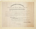 Autographs:U.S. Presidents, Chester A. Arthur Document Signed as the twenty-first president andcountersigned by Secretary of the Interior Henry M. Te...