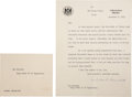 "Autographs:Non-American, Winston Churchill Typed Letter Signed. One page, 7.5"" x 9.5"",""at The Casey Villa, Cairo"", December 8, 1943, to""H... (Total: 17 Items)"