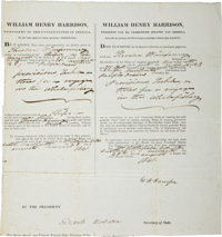 William Henry Harrison Partial Four-Language Ship's Passport Signed as president. Extremely rare piece signed by Pres