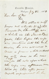"""Abraham Lincoln Autograph Letter Signed as President. Two pages penned on recto only, 5"""" x 8"""", """"Executive..."""
