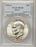 Eisenhower Dollars: , 1976-S $1 Silver MS68 PCGS. PCGS Population (357/0). NGC Census:(63/0). Mintage: 11,000,000. Numismedia Wsl. Price for pro...