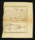 Colonial Notes:Massachusetts, State of Massachusetts-Bay £10 Treasury Certificates Comm'tte Warat 6% Interest Oct. 14, 1778. Anderson MA 4. Extremely Fine....