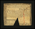 Colonial Notes:Massachusetts, Massachusetts May 5, 1780 $5 Choice About New....
