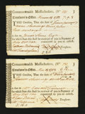 Colonial Notes:Massachusetts, Massachusetts Treasury Tax Collector's Certificate. November 1782.Matching Serial Number Pair. Very Fine-Extremely Fine or be...