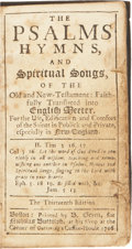 Books:Non-fiction, [Bay Psalm Book]. The Psalms, Hymns, and Spiritual Songs, of theOld and New Testament: Faithfully Translated into E...