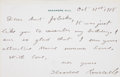 "Autographs:U.S. Presidents, Theodore Roosevelt Autograph Letter Signed. One page, 5.75"" x3.75"", Sagamore Hill [New York], October 31, 1918, thanking ""..."
