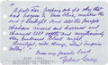 "Autographs:Authors, Zane Grey Autograph Quotation Signed ""From my favorite book/ Zane Grey"" in purple ink. One page, 5"" x 3"". Typed in the l..."