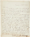 """Autographs:U.S. Presidents, [John Quincy Adams] Letter with Political Content signed by WilliamE. Richmond. One page, 8"""" x 9.5"""", Providence, October 21..."""