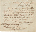 "Autographs:Statesmen, Timothy Pickering Autograph Note Signed, with two engravings. Onepage, 6.5"" x 5.5"", ""Wilkesborough County of Luzerne"", ...(Total: 3 Items)"