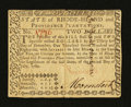 Colonial Notes:Rhode Island, Rhode Island July 2, 1780 $2 Serial Number 1776 ExtremelyFine-About New....
