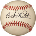 Autographs:Baseballs, 1940's Babe Ruth Single Signed Baseball, PSA NM-MT+ 8.5....