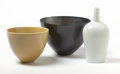 Post-War & Contemporary:Contemporary, PRUE VENABLES (Australian/British, b. 1954). Black Bowl, WhiteBottle, and Yellow Bowl. Porcelain. Black bowl: 5-1/2...(Total: 3 Items)
