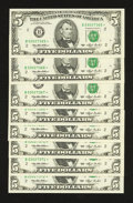 Small Size:Federal Reserve Notes, Fr. 1982-B* $5 1993 Federal Reserve Notes. Choice Crisp Uncirculated or better.. ... (Total: 8 notes)
