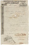 """Autographs:Statesmen, Galveston Bay & Texas Land Company Stock issued to David G.Burnet. One page, 8"""" x 12.5"""", October 16, 1830, New York, fo..."""