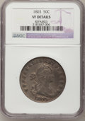 Early Half Dollars: , 1803 50C Large 3--Repaired--NGC Details. VF. NGC Census: (13/648).PCGS Population (34/259). Mintage: 188,234. Numismedia W...