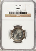 Proof Barber Quarters: , 1897 25C PR61 NGC. NGC Census: (5/174). PCGS Population (11/204). Mintage: 731. Numismedia Wsl. Price for problem free NGC/...