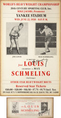 Boxing Collectibles:Autographs, Max Schmeling Signed Reproduction Broadsides Lot of 2....