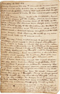 """Autographs:Statesmen, John McLean Journal. Twenty-one pages, 5"""" x 8"""". The journal beginswith an entry dated November 13, 1814, and continues with..."""