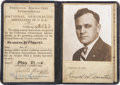 "Autographs:Inventors, Orville Wright Document Signed. Pilot's license, four pages, 3"" x 4.25"", n.p., May 27, 1926. Leather-bound pilot's license, ..."