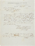 Autographs:Military Figures, CSS Savannah: Thomas William Brent Autograph Letter Signed and Initialed as Commandant of the Confederate States...