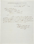 Autographs:Military Figures, CSS Savannah: Thomas William Brent Autograph Letter Signedas Commandant of the Confederate States Navy. One pag...