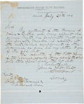Autographs:Military Figures, CSS Savannah: Thomas William Brent Letter Signed as Commandant of the Confederate States Navy. One page on blue ...