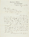 "Autographs:Military Figures, Stephen Russell Mallory Letter Signed as Confederate Secretary of the Navy. One page, penned on recto and verso, 7.75"" x 9.7..."