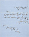 Autographs:Military Figures, Jefferson Davis Letter Signed As Acting Secretary Of The Navy. Two pages including integral blank, on blue lined paper, 7.75...