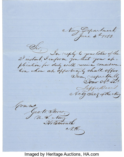 Jefferson Davis Letter Signed As Acting Secretary Of The