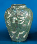 Lapidary Art:Carvings, IRIDESCENT BLUE ABALONE SHELL VASE. ...